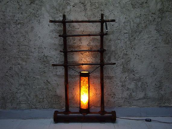 bambusz állólámpa