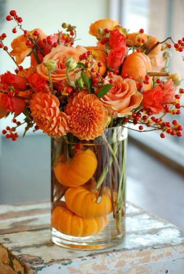 ősz, asztaldísz, váza, dekoráció