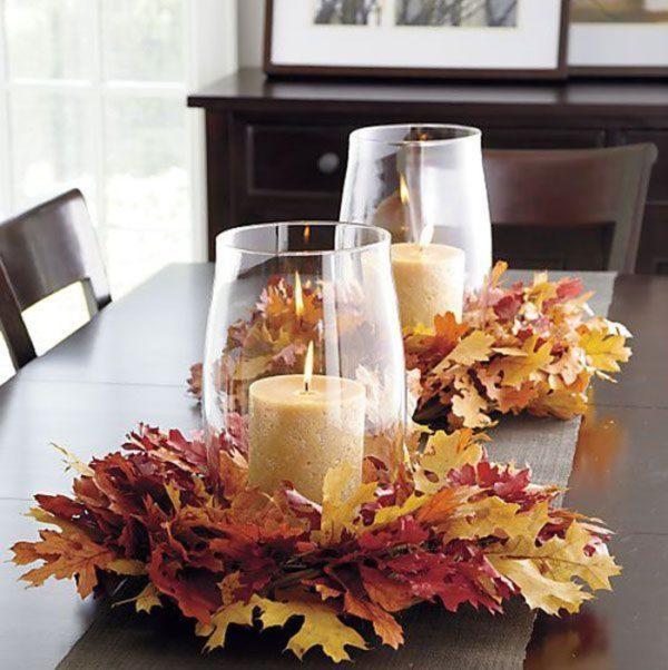 őszi asztali dekoráció falevélből