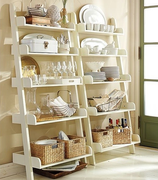 Beautifully-decorated-modern-ladder-shelves