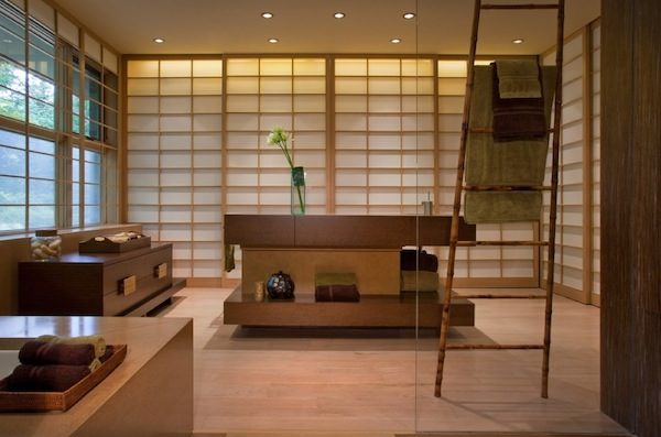 Oriental-styled-bathroom-uses-a-ladder-as-towel-rack