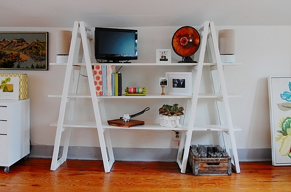 Vintabe-ladder-bookshelf-unit-in-white