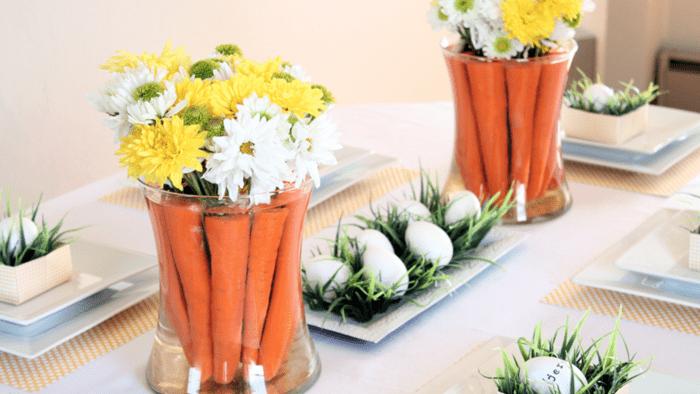 húsvét, asztal, dekor, dekoráció