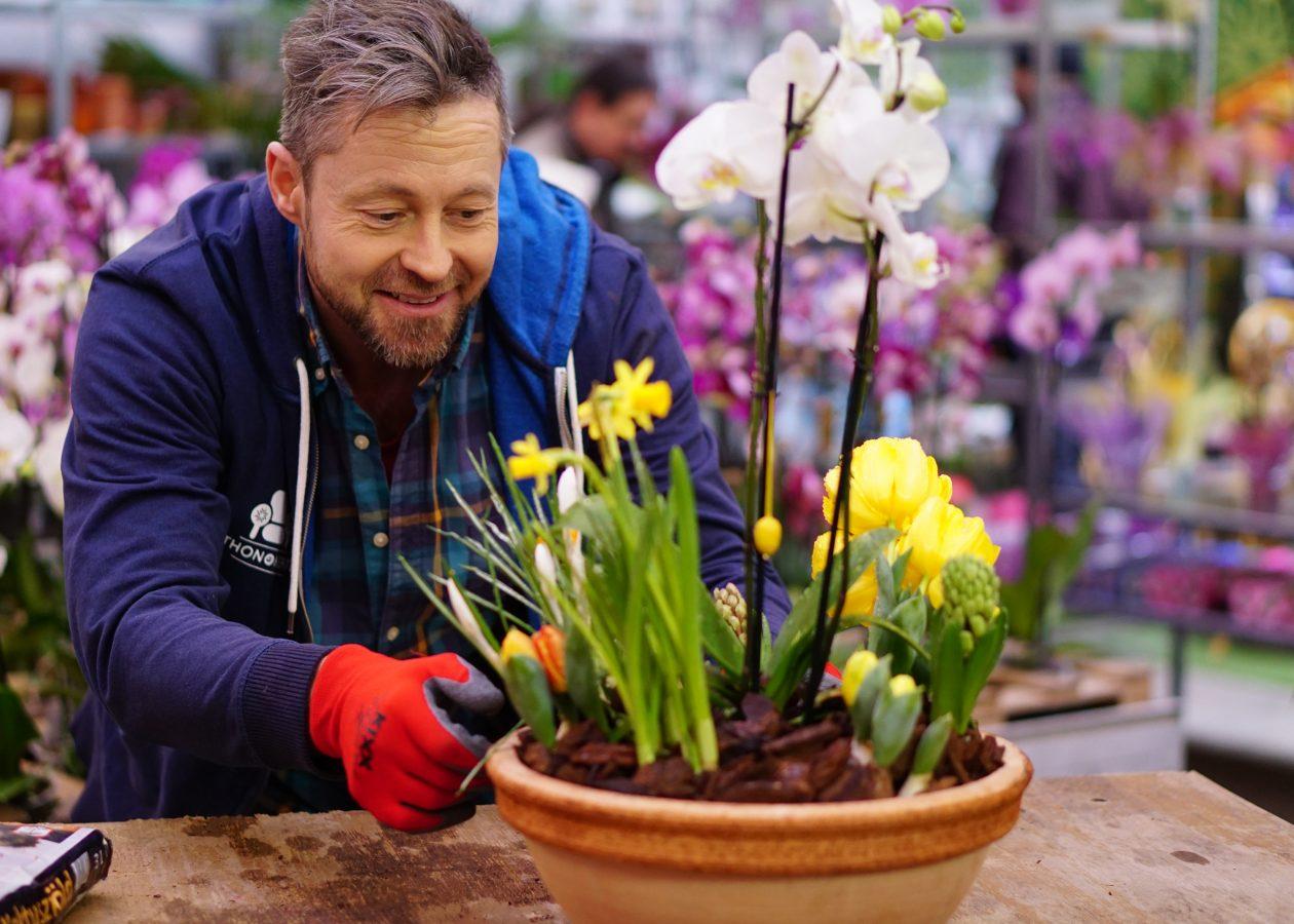 Tavaszi hagymás virágdekoráció orchideával! - videó