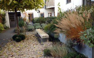 társasház, belső kert, örökzöld