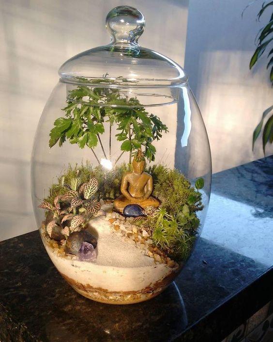 miniatűr, buddha, palackkert