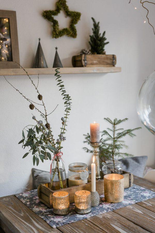 rusztikus karácsonyi asztalközép